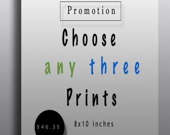 Fine art print set of 3, discount prints, choose 3, mix and match prints