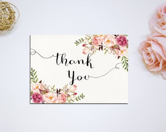 Printable Thank you Card, Bridal Shower Digital Files, Floral Ivory Thank you, Bridal Thank you DIY Wedding INSTANT Download - PF-18