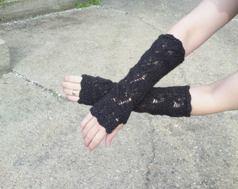 Steampunk gloves,  crochet armwarmers, long lace fingerless gloves, black or brown fingerless mittens, spring trends, mothers day gift