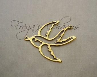 Clearance Flying Bird Charms, Gold Birds, Swallow, Sailor Jerry Bird, Rockabilly, Large Bird Connector, Bird Link, 30x36