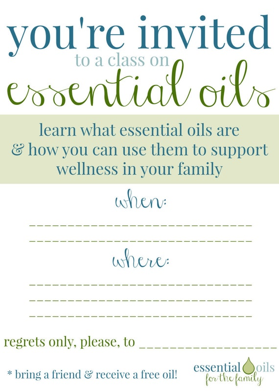 Custom Essential Oil Class Invitation by OneDropDesigns on ...