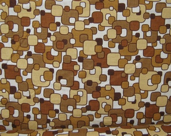 MOD Vintage 60s Barkcloth Fabric - Atomic Abstract Squares per metre