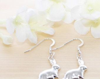 Sterling Silver Bunny Earrings Itzie and Glitzie - Rabbit Earrings - Bunny Rabbit Jewelry