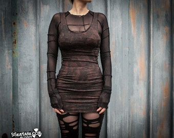 BURN - Wasteland Brown Mini Dress Post Apocalyptic Woodland Steampunk Dystopia