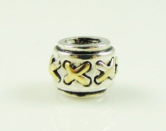 Stitches 925 Sterling Silver Big Hole Charm Bead