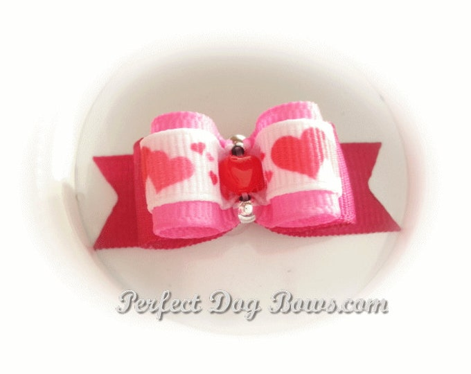 Hearts Dog Bow, Pet Hair Bow, Top Knot Bow, Show Dog Bow, Valentine's Day Dog Bow, Girl Dog Bow, Pet Bows, Bows for Dogs, Grooming Bow