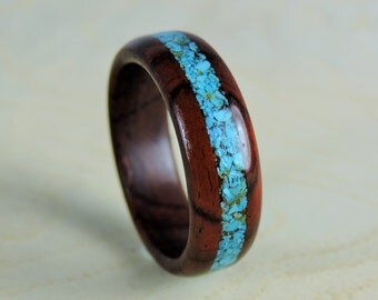 Wood Ring - Cocobolo and Turquoise Ring - Turquoise Ring - Handmade Ring - Eco Friendly Ring - Wedding Ring - Mens Ring - Womens Ring