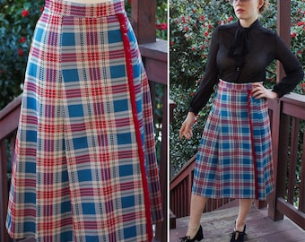 STANFORD 1960's 70's Vintage Teal Blue + Burgundy Plaid Polyester Skirt with Fringe // size Small // by SEARS