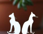 Cat Earrings, Sterling Silver Kitty stud jewelry, Bastet Egyptian goddess