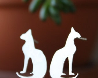 Cat Earrings, Sterling Silver Kitty stud jewelry, Bastet Egyptian goddess