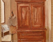 Armoire with dress form in antique setting small original art