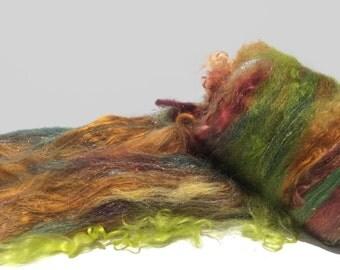 "fiber art batt, felting wool,spinning fiber roving, mint topaz cranberry wine yellow green green olive ""Artemisia"", PHAT FIBER edition"