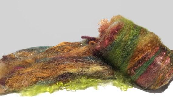 Fiber Art Batt Felting Woolspinning Fiber Roving Mint Topaz