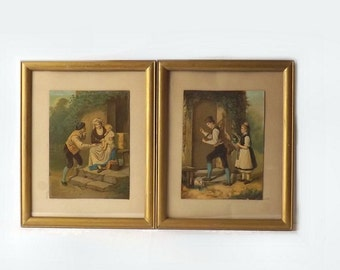 Folk Art Litho Prints, 2 Antique Chromolithographs in Wood Frames, Pencil Signed Phinney, Rabbit Offering, Man & Woman with Baby