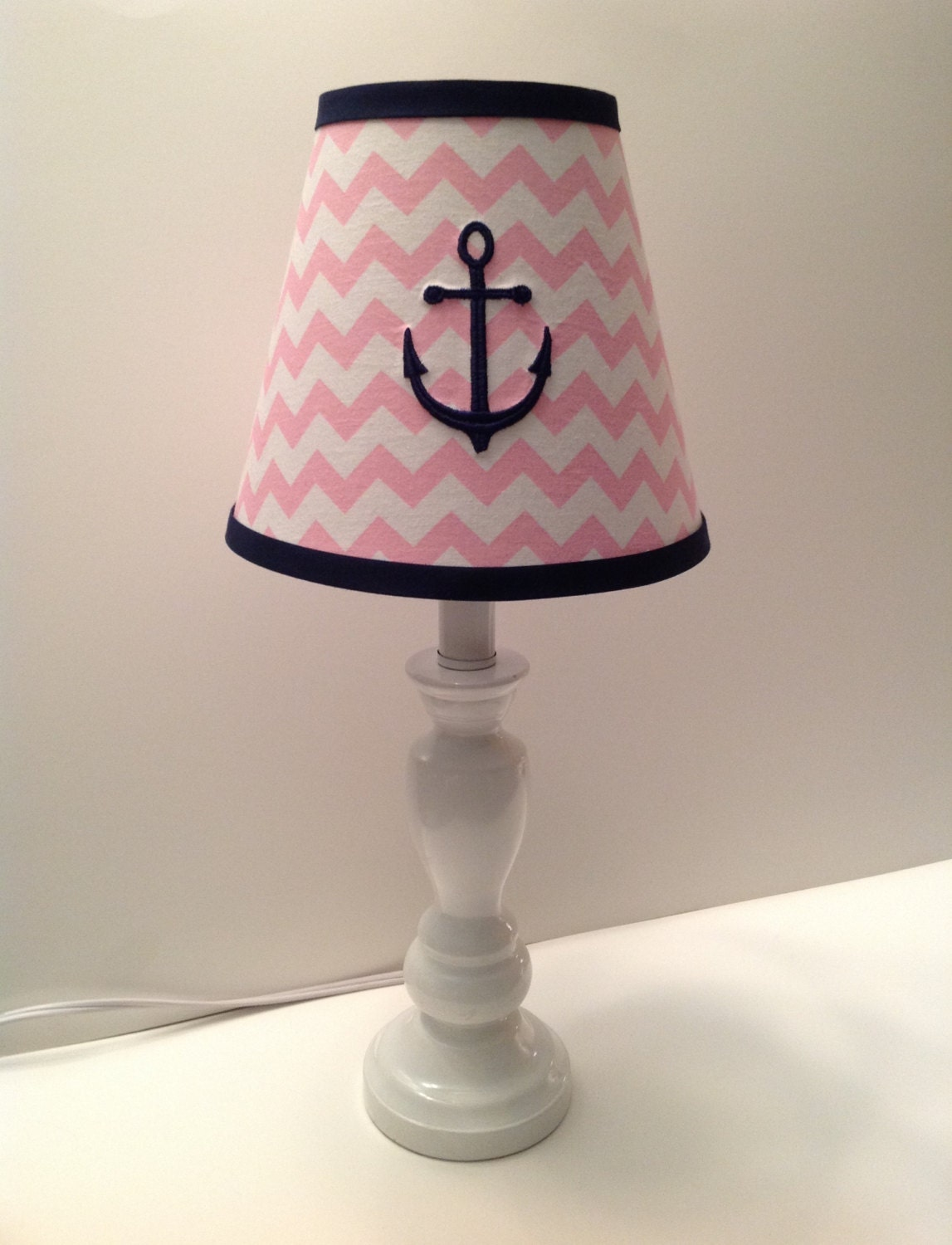 Pink Lamp Shade : Nautical anchor lamp shade light pink chevron other colors