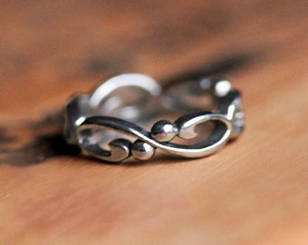 White gold infinity wedding band, white gold infinity wedding ring, gold infinity ring, unique wedding ring for her alternative ring Wrought