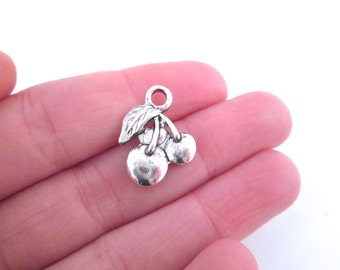 silver plated cherry charms 16x15mm, pick your amount, D62