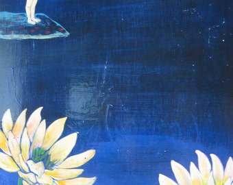 "Diving In original painting on panel 24"" x 18"" yoga inspired art"