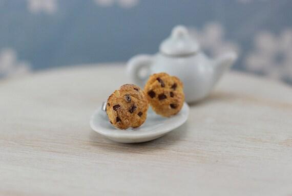 Chocolate Chips Cookies - Studs / Post Earrings