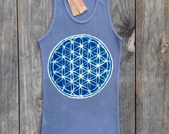 Flower of life sacred geometry yoga ribbed tank tops and tees hand dyed gray yoga clothes batik Eco friendly individually hand painted