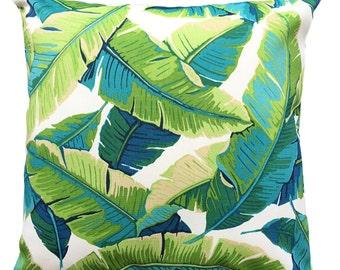 Tropical Leaf, Aqua, Green, White and Turquoise Outdoor Cushion