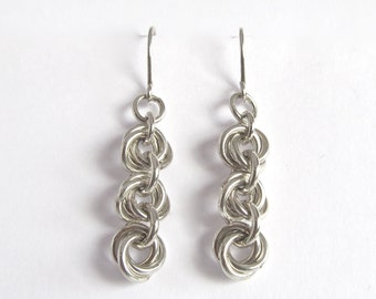 Silver Chainmaille Earrings - Mobius  Chainmail Earrings - Silver Chain Earrings - Long Chainmail Earrings - Gift Earrings - 313001