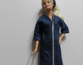 Barbie Doll Clothes, Handmade Barbie Clothes, Denim Dress, Headband, Barbie Dress, Denim Blue