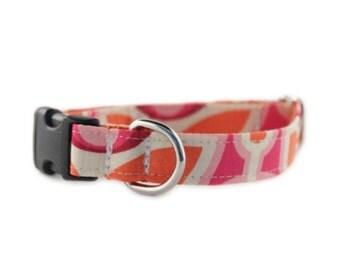 Pink Dog Collar - Orange and Pink Dog Collar - Camilla Dog Collar - Adjustable Dog Collar - Flower Dog Collar - FREE SHIPPING