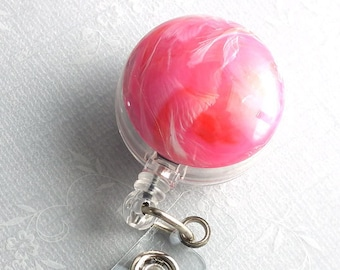 ID Badge Reel Bright Pink Cabochon on Badge Holder, Name Badge 21