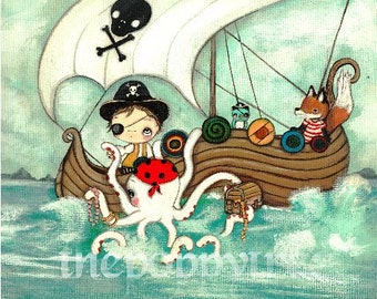 Pirate Print Whimsical Pirates Boy Fox Octopus Cute Childrens Wall Art