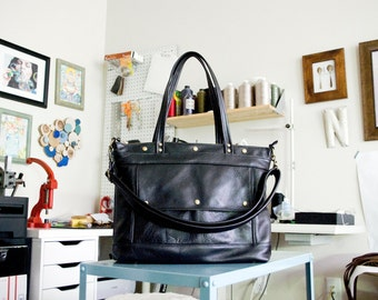 Leather Tote, Black Laptop Tote, Leather Laptop Briefcase, Attorney Bag, Archive Bag, Made to Order