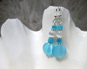 Turquoise Color Glass Beaded Dangling Earrings