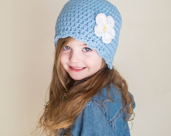 9 Sizes Light Blue Girl Hat Baby Hat Baby Girl Hat Toddler Hat Toddler Girl Hat Womens Hat Crochet Flower Hat Flapper Beanie 30 Flower Color