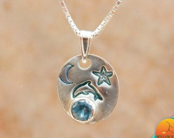 Women's Handmade Dolphin Silver Necklace, Small Fine Silver Dolphin on Sterling Silver Necklace Chain, Blue Spinel, Delphinus Constellation