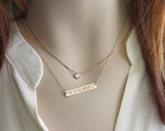 Anniversary Gift • Engraved Bar • Date Necklace • Roman Numerals Necklace • Engraved Personalized Date Jewelry • Wedding Date • Bride Gift