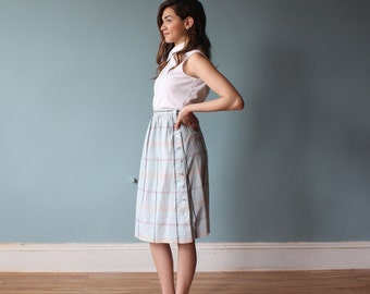 madras skirt / pastel plaid skirt / 1980s / small