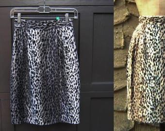 "S 25"" waist 1980's Dead Stock Faux Fur Leopard Pencil Skirt Black Gray Grey White Size Sm Small Back Thennish Vintage"