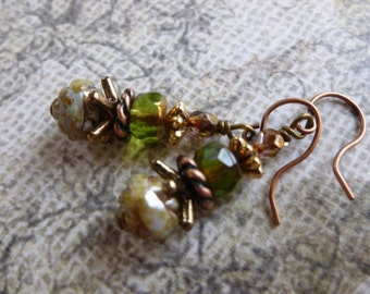 Green Vintage Style Earrings with Czech Glass and Antique Copper and Gold