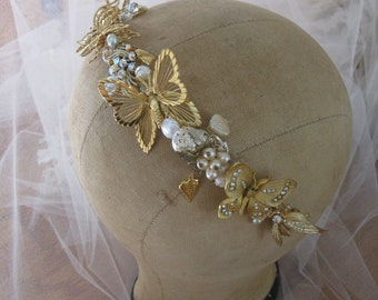 Butterfly Golden Jewel Tiara crown headband Bridal Headpiece wedding head piece