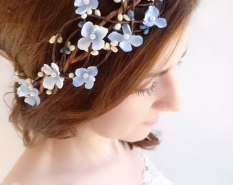 light blue flower crown, sky blue hairpiece, floral crown, prom, bridal headband, flower girl, pale blue, hair vine, garland, rustic wedding