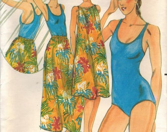 1970s Butterick 5483 Vintage Sewing Pattern Misses Maillot One-Piece Swimsuit, Beach Coverup Size 10 Bust 32-1/2