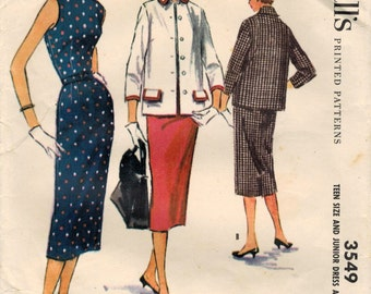 1950s McCall's 3549 Vintage Sewing Pattern Junior Misses Slim Dress and Jacket Size 13 Bust 31