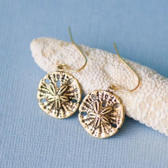 Sand Dollar Earrings | Gold | Unique pretty stamped nature-inspired beachy ocean sand cute jewelry | Handmade in Santa Cruz