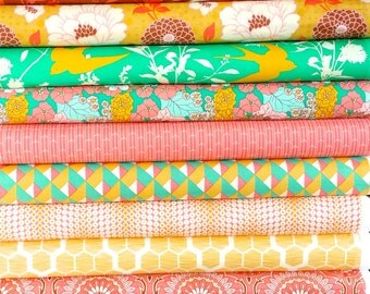 Joel Dewberry Bungalow fabric: half yard set of 12, Honeysuckle palette
