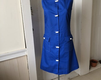 1960s Royal Blue Cotton Mod Scooter Dress Sleeveless Toggle Buttons Size 12 Deadstock NOS