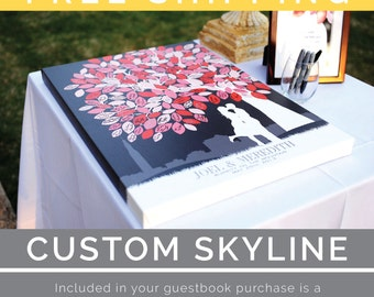Canvas Wedding Tree Guest Book // Art Print With Personalized Skyline & Silhouette // Wedding Art Keepsake // 175 Signature // W-T05-1PS HH3