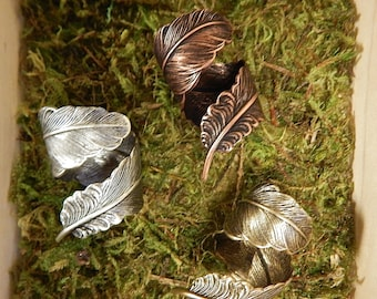 Feather Ring, Steampunk Feather, Steampunk Ring, Feather Wrap Ring, Boho Feather Ring, Feather Thumb Ring, Thumb Ring, Plume Ring, Wrap Ring