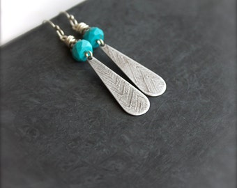 Turquoise Stone Chevron Etched Dangle Earrings Sterling Silver Tribal December Birthstone Boho Jewellery
