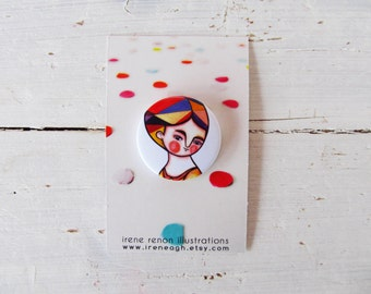 Autumn pin, orange & white button brooch