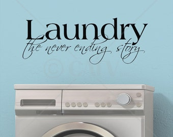 Laundry the never ending story vinyl lettering wall decal sticker